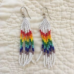 Jewelry - Handmade Rainbow Beaded Earrings